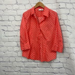 NEW Kim Rogers Ladies Pink and White Polka Dot Top